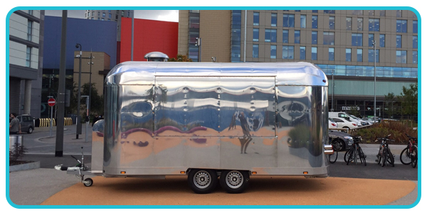 Outside view of airstream catering trailer