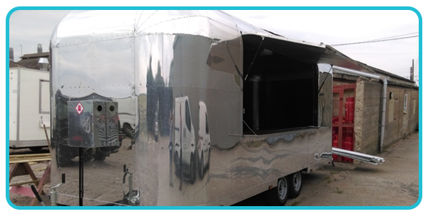 Side view of airstream catering trailer